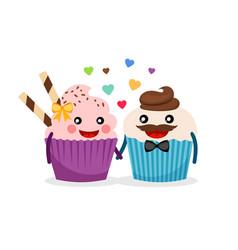 Sweet cupcakes holding hands vector