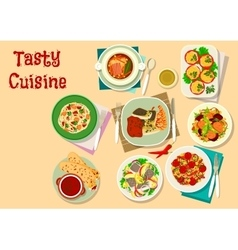 Tasty lunch menu icon for restaurant design vector image vector image