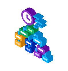 Time algorithm isometric icon vector