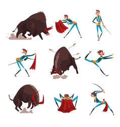 toreador with red cape and sword fighting vector image