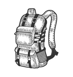 Tourist backpack sketch vector