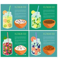 Vegetarian food posters set detox diet concept vector