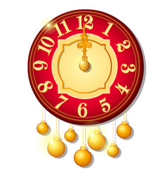 Vintage wall clock decorated with golden balls vector