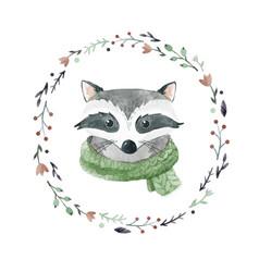 Watercolor raccoon portrait vector
