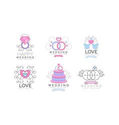 wedding floral decorative logo design with vector image