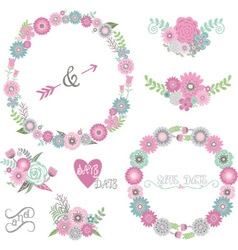 Wedding Floral Elements Labels Ribbons Hearts vector