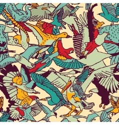 Wild nature birds color seamless pattern vector image