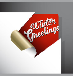 Winter greeting card on red background vector