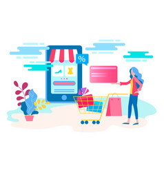 woman makes a purchase in the online store vector image