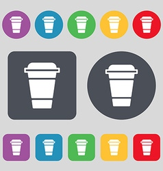 coffee icon sign A set of 12 colored buttons Flat vector image vector image