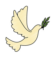 Dove of peace flying with olive branch vector