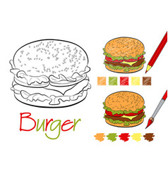 hamburger coloring page for the book with examples vector image