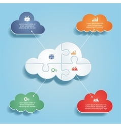 Infographic report template with clouds and icons vector image vector image