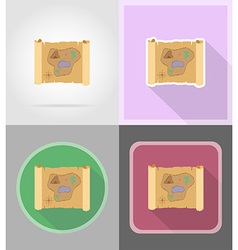 pirate flat icons 15 vector image