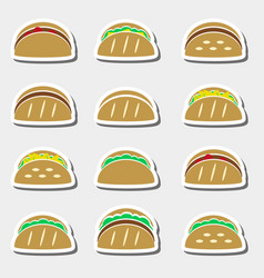 Set of color tortilla tacos food stickers set vector