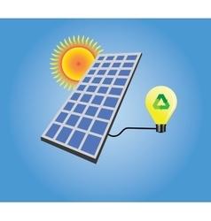 Solar panel isolated with sun and light bulb vector