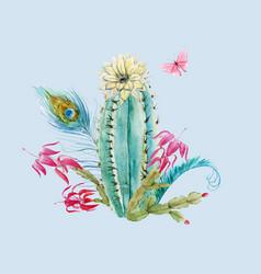 watercolor cactus composition vector image vector image