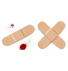 aid bandages and blood drops vector image