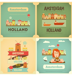 amsterdam set vector image vector image