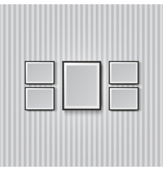blank picture frame striped wall vector image vector image