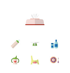 Flat child set of tissue toilet baby plate and vector