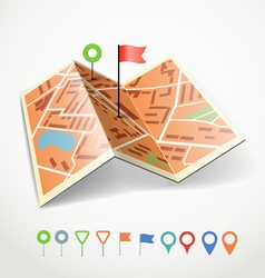 Folded abstract city map vector image vector image