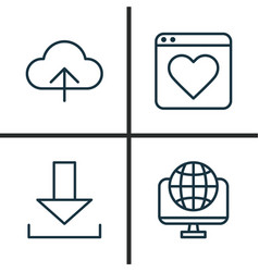 Internet icons set collection of transfer global vector