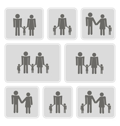 monochrome icons with family members vector image