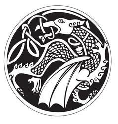 a druidic astronomical symbol of a dragon vector image