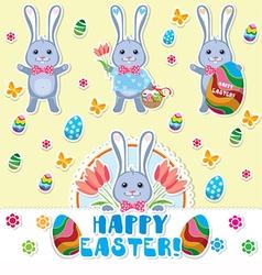 Easter rabbits set vector image
