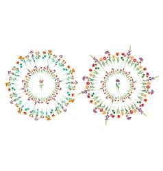 Floral circle set vector image vector image