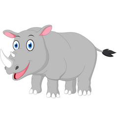 happy rhino cartoon vector image