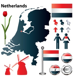 Netherlands map small vector image