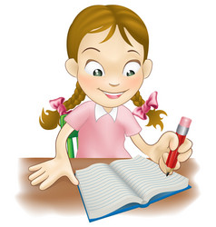Young girl writing in a book vector