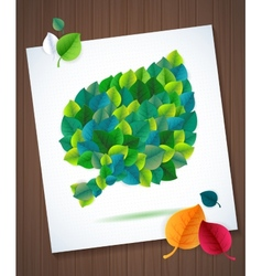 colorful leaves card concept on super wood vector image