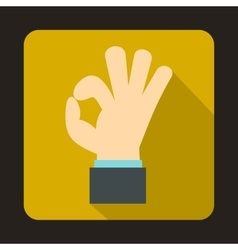 Ok gesture icon in flat style vector image vector image