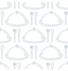 Seamless pattern with hand drawn serve dish vector image