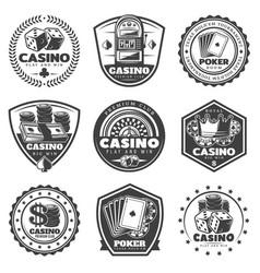 vintage monochrome casino labels set vector image