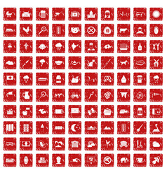 100 cow icons set grunge red vector