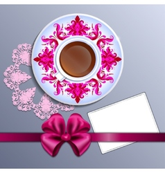 A cup of tea and card vector image