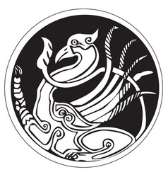 A druidic astronomical symbol of a phoenix bird vector