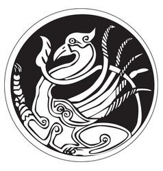 a druidic astronomical symbol of a phoenix bird vector image