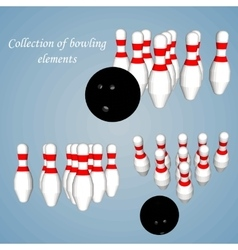 Abstract Creative concept set of Bowling vector image