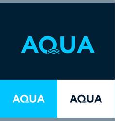 Aqua logo letter q wavy elements sport clothes vector