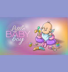 Baby boy infant playing vector