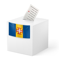 Ballot box with voting paper Madeira vector