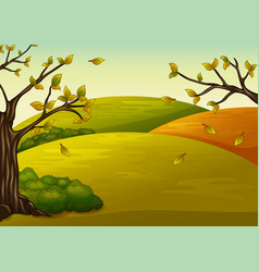 Beautiful autumn landscape and falling leaves vector