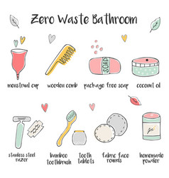 big set hand drawn icons for zero waste bathroom vector image