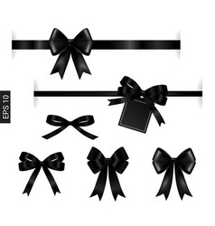 black ribbon with tag element on white for vector image