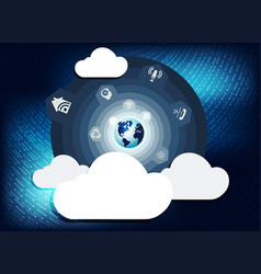 blue background with computer clouds vector image